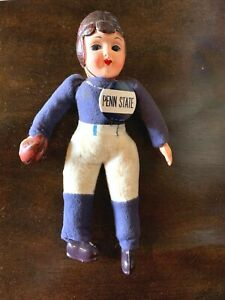 Vintage 1940s Penn State Nittany Lions Football Celluloid Toy Doll & Pinback PSU