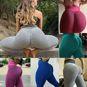 High Waist Women Yoga Pants Anti-Cellulite Tik Tok Leggings Ruched Honeycomb Gym