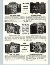 1941 PAPER AD Univex Mercury Candid Falcon Super Action Minicam Camera