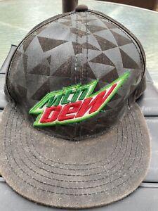 Mtn Mountain Dew Flat Bill Snapback Green Fountain Drink Hat Cap Soda Beverage