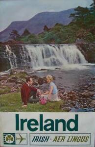 AER LINGUS IRELAND 1963 vintage Airlines Travel poster 25x39