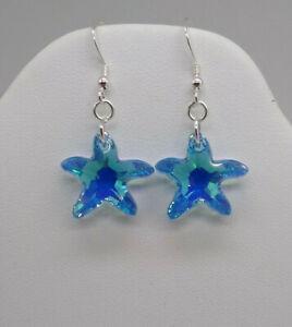 m/w Sterling Silver Swarovski Crystal Aquamarine AB Starfish Earrings; Leverback