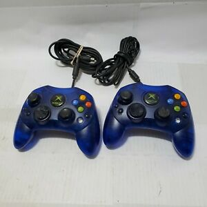 2 Original Microsoft Xbox Controller S - Wired Ice Blue - Official OEM