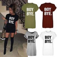New Womens Ladies Black BOY BYE Turn Up Short Sleeve T-Shirt Top Dress UK 8-26