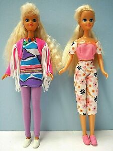"2 Older 10"" Skipper Dolls with Large Eyes, Outfits with Shoes"