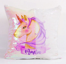Personalised Unicorn Sequin Mermaid Cushion Cover Magic Pink