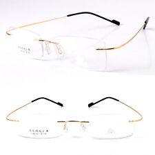 Flexible Titanium Alloy Rimless Eyewear Eyeglass frames Optical Glasses RX Gold