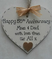 personalised golden/50th wedding anniversary wooden heart gift/present
