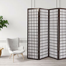 Foldable 4 Panel Wood Shoji Room Screen Fabric Divider Privacy