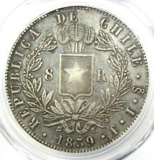 1839-SO IJ Chile 8 Reales Coin (8R) - Certified PCGS XF40 (EF40) - Rare Coin!