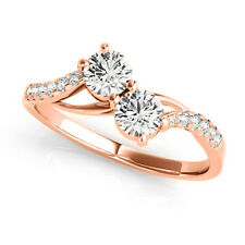 Forever US Round Cut Diamond 14k Rose Gold Two-stone Promise Ring