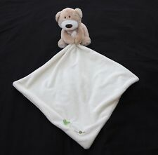 Mothercare teddy bear comforter Loved So Much brown cream green heart lovie soft