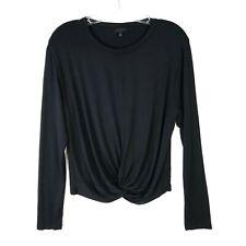 SEN Twist Gathered Crew Long Sleeve Tee Shirt Black Size 2 Medium M Womens