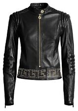 VERSACE For H&M Black Biker Gold Studded Zipper Leather Jacket EUR 36 US 6 UK 10