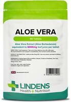 Aloe Vera 6000mg 90 Tablets Colon Cleanse Skin Hair Joint Detox Lindens UK