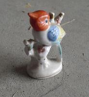 "Vintage 1940s Occupied Japan Porcelain Bird on Branch Figurine 2 3/4"" Tall"