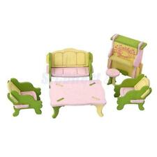 WOOD HANDCRAFTED DOLLHOUSE MINIATURE FURNITURE SET LIVING ROOM FOR KIDS TOY