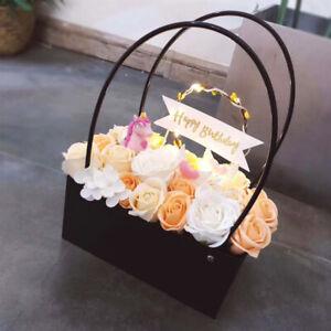 ❤ 5 Colour Choice PVC/Kraft Bouquet Flower Floristry Carry Bags Flower Baskets