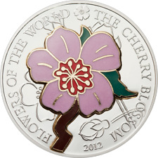 2012  $5 Cook Islands - Cloisonne CHERRY BLOSSOM - 999 SILVER COIN