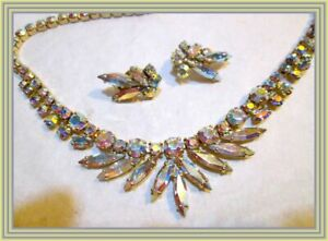 Sherman YELLOW AB - GRADUATED MARQUISE CRYSTAL CLUSTER NECKLACE & EARRING SET