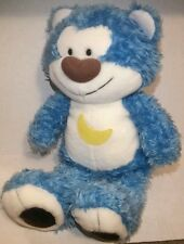 "HTF Morning Glory 19"" Fuzzy Blue Bear Plush Large Moon Korea"
