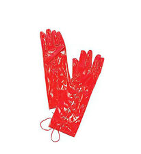 Ladies Long Red Vinyl Gloves Lace Up 80s Fancy Dress Costume PVC Style NEW