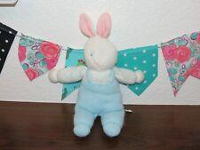 VTG Eden Bunny Pastel Blue Sweater Knit Overalls Rabbit Stuffed Plush Toy FLAW