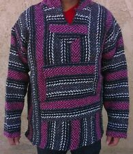 X-L Mexican Baja Hippie Surfer Pullover Hooded Sweater HotPink/Dark Gray/White