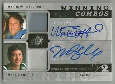 Matthew Stafford Mark Sanchez 2009 SPX COMBOS DUAL ROOKIE SWATCH AUTO /15 SIGNED