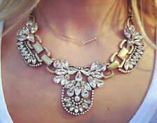 New Design Luxury Multi Crystal Cluster Bib Gold Crew Statement Necklace Chain