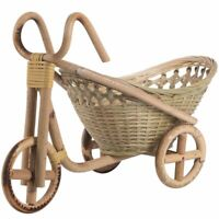 Bamboo Handmade Bicycle Shape Woven Straw Fruit Basket Wicker Rattan Organizer