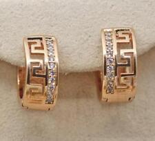 18K Gold Filled - Hollow Geometry Maze Heart Round White Topaz Hoop Earrings
