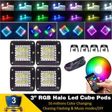 4X 3inch 30W RGB HALO Chasing Led Work Light Bar Flood Music Bluetooth + Wiring