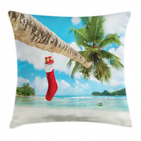Christmas Throw Pillow Case Beach Xmas Stockings Square Cushion Cover 18 Inches