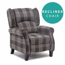 EATON GREY WING BACK FIRESIDE CHECK FABRIC RECLINER ARMCHAIR SOFA LOUNGE CHAIR