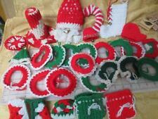 30 vintage crocheted Christmas ornaments stockings bells wreaths candle santa