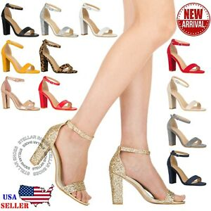 NEW Women's Open Toe Ankle Strap Chunky Block High Heel Sexy Heeled Sandals