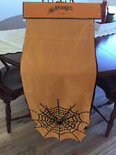 "Halloween Spooked Table Runner Spider Web 14"" x 72"" NWT"