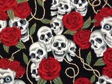 RPG609C Rose Tattoo Rare Skull Rose Blue Eyes Grateful Dead Cotton Quilt Fabric