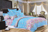 Blooming Floral Print Duvet Cover Bedding Set with Pillowcases Blue/Pink/White