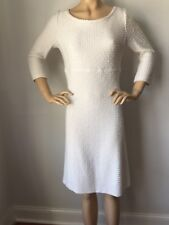 NWT St John Knit dress size 6 cream tweed gold shimmer