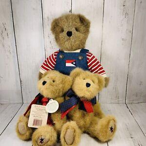 Boyds Bear Huck Patriotic TJs Best 919811 w Tag 11 inch Jackie Bearamerican Lot