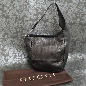 Rise-on GUCCI Python Leather Black Shoulder bag HandBag  #80