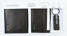CALVIN KLEIN Men's Leather Gift Set, Wallet/Card Case/Key Fob, Dark Brown, Boxed