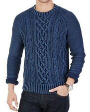 Nautica Blue Men's Size Large L Crewneck Cable-knit Sweater $220.00