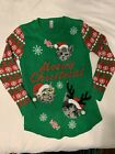 No Boundaries Meowy Christmas Cat Ugly Sweater Size L 11-13 Green Red Bells