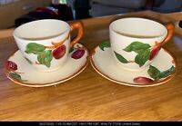 VINTAGE COLLECTORS FRANCISCAN APPLE CUPS & SAUCERS SET OF 2 PRISTINE COLORFUL