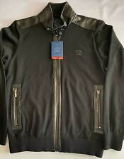 NEW Paul & Shark Yachting Giacca Jacket BLACK WOOL SHARK FIT Real LEATHER Size L