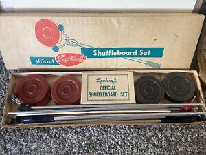 Vintage Sportcraft Sports Games Shuffleboard Set 4 Poles 8 Pucks Red Black