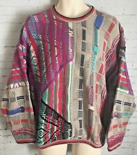 Coogi Sweater Mens Medium Bright Multicolor Vintage 90s Biggie Classic Australia